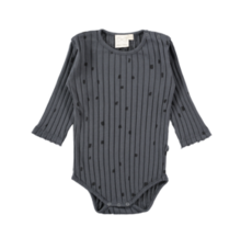 Mini Sibling - Long Sleeve Body Suit, Charcoal