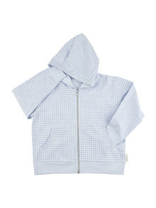 Tinycottons - Grid FT hoody, light blue/cerulean blue