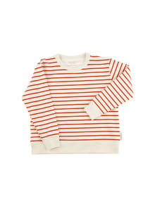 Tinycottons - Small stripes FT sweatshirt, off-white/carmine