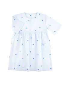 Tinycottons - Squares dots wv belled dress, light blue/cerulean blue