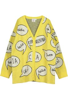Beau LOves - Knit oversized cardigan speech bubble, yellow