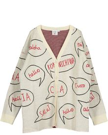 Beau LOves - Knit oversized cardigan speech bubble, vanilla