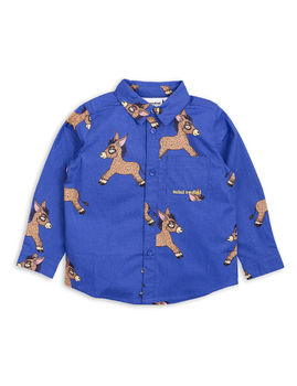 Mini Rodini - Donkey woven shirt, blue