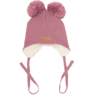 Gugguu - Beanie with double tuft and ear flaps, mauve