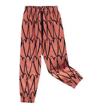 Beau LOves - Drawstring cotton pants love hearts, coral