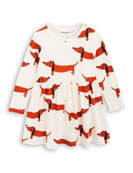 mini rodini - Dog LS dress, offwhite