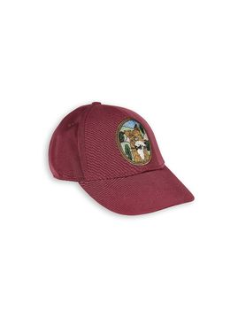 mini rodini - Fox embroided cap, burgundy