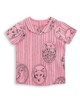 mini rodini - Fox family collar tee, pink