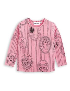 mini rodini - Fox family grandpa tee, pink
