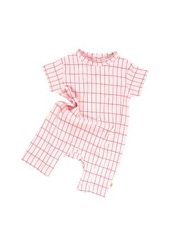 Tinycottons - Grid short onepiece, pale pink