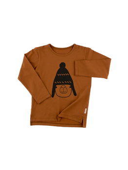 Tinycottons -  Llama with beanie graphic tee, brown/black