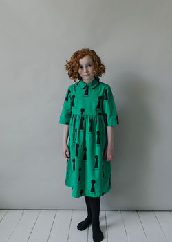 Beau LOves - Margo collar dress key holes, winter green