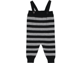Mini sibling - Knitted romper stripes, black/grey