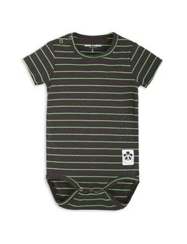 mini rodini - Stripe rib SS body, black