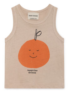 Bobo Choses - Tangerine Dreams Linen Tank Top, Feather (119159)