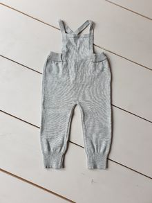 Solid baby dungarees, light grey heather