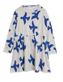 Mini Rodini - Flying birds ls dress, Light grey