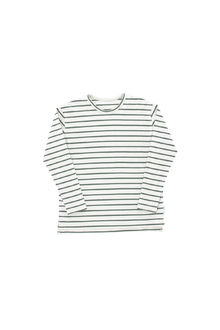Tinycottons - small stripes ls relaxed tee, light grey/dark green