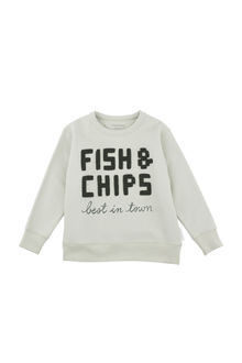 Tinycottons - fish & chips graphic sweatshirt, pistacho/dark green