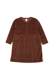 Tinycottons - grid plush dress, brick/dark green