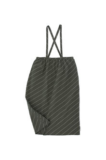 Tinycottons - diagonal stripes wv braces long skirt, dark green/pistach