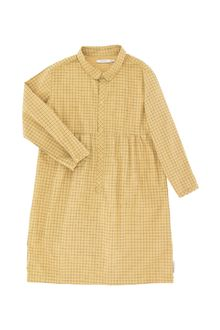 Grid ls dress, sand/dark green