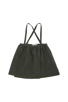 Tinycottons - Solid corduroy wrap over braces skirt, dark green