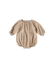 Rylee + Cru - Gingham bubble romper, Saddle / Ivory