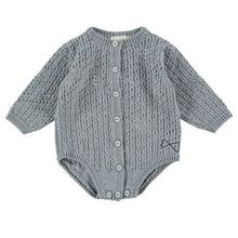 Mini Sibling - Vintage Knit Body Suit, Grey Marl