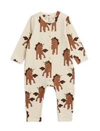 Mini Rodini - Unicorns aop jumpsuit, Offwhite