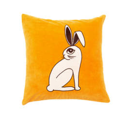 Mini Rodini - Rabbit velvet cushion cover 50x50, yellow