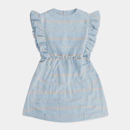 Repose AMS - Misty ruffle dress, washed aged / blue check