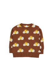 Tinycottons - SLEEPY SUN KNIT SWEATER SHIRT, dark brown/yellow