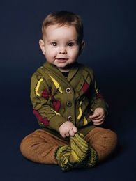 Mainio - Babies sweat jacket, olive/wine red/yellow