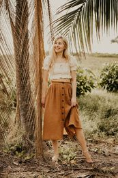 Kaiko - Woman Button Skirt, nougat