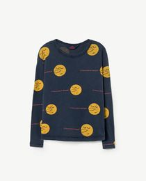 TAO - Dog kids shirt, deep blue yellow face