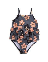 mini rodini - Flower frill swimsuit, grey
