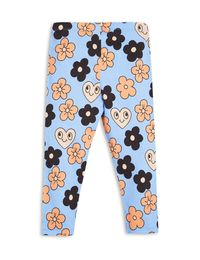mini rodini - Flowers leggings, lt blue