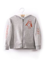 Bobo Choses - Hooded Sweatshirt Bow Loup de mer, lt grey