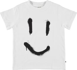Molo Kids - Reeve T-shirt SS, white smiley