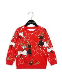 mini rodini - Reindeer sweatshirt, red