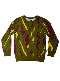 Mainio - Sweatshirt, olive/wine red/yellow
