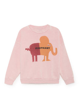 Bobo Choses - Pigphant Round Neck Sweatshirt, Mellow Rose