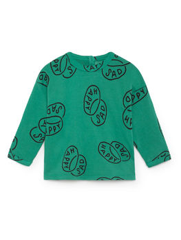 Bobo Choses - Happy Sad Round Neck T-Shirt, Viridis