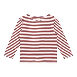 Gray label- LS stripe tee, burgundy/white stripe