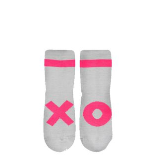 Beau LOves - Ankle socks, neon pink XO, dove grey