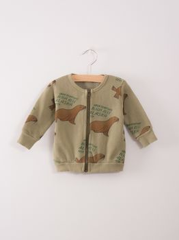 Bobo Choses - Baby zip sweatshirt Green Otariina