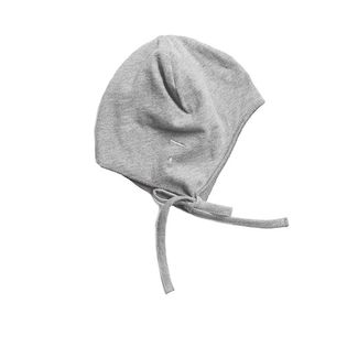 Gray label- Baby hat with strings, grey melange
