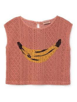 Bobo Choses - Banana knitted Sleeveless Shirt, strawberry