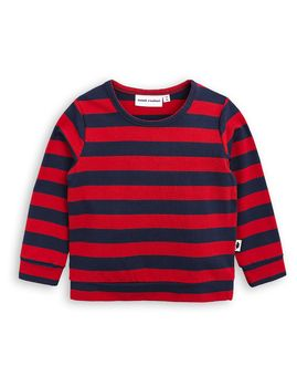 mini rodini - Block stripe LS cuff tee, red